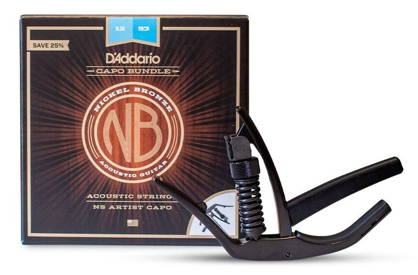 D'ADDARIO NB1253-CP10 Nickel Bronze Acoustic Light NS Artist Capo