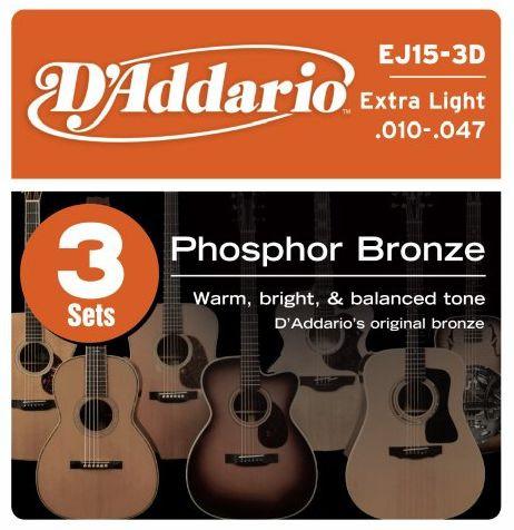 D'ADDARIO EJ15-3D Phosphor Bronze Extra Light - .010 - .047