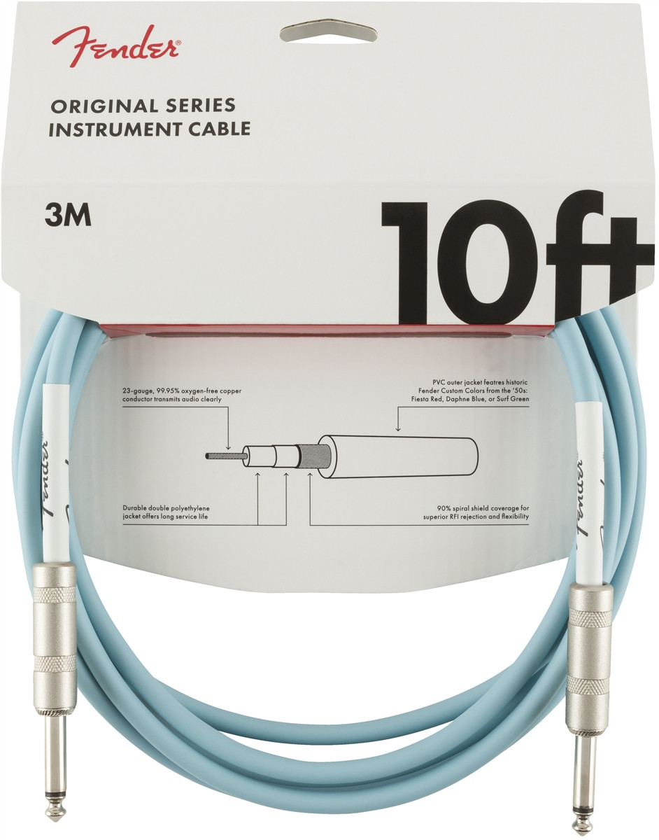 FENDER Original Series 10 Instrument Cable Daphne Blue