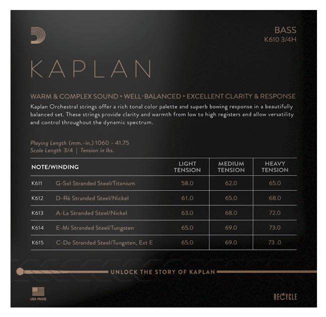 D´ADDARIO - BOWED K610 3/4H Kaplan Bass String Set - Heavy
