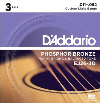 D'ADDARIO EJ16-3D Phosphor Bronze Light .012 - .053 - 3ks