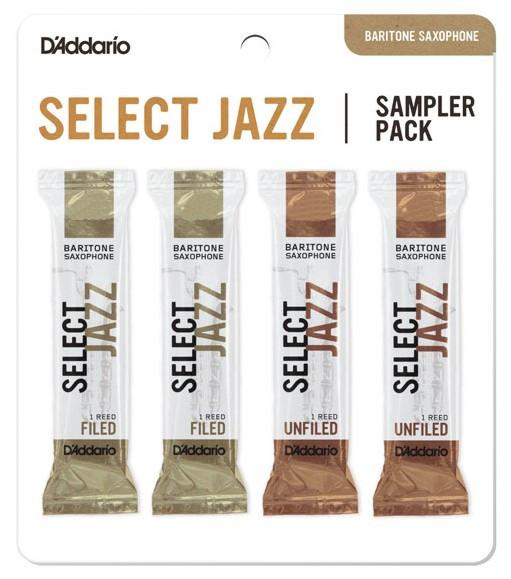 RICO DSJ-L3S Select Jazz Reed Sampler Pack - Baritone Saxophone 3S/3M - 4-Pack
