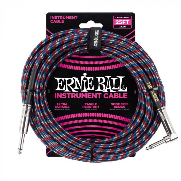 ERNIE BALL P06063 Braided Cable 25 SA Black Red Blue White