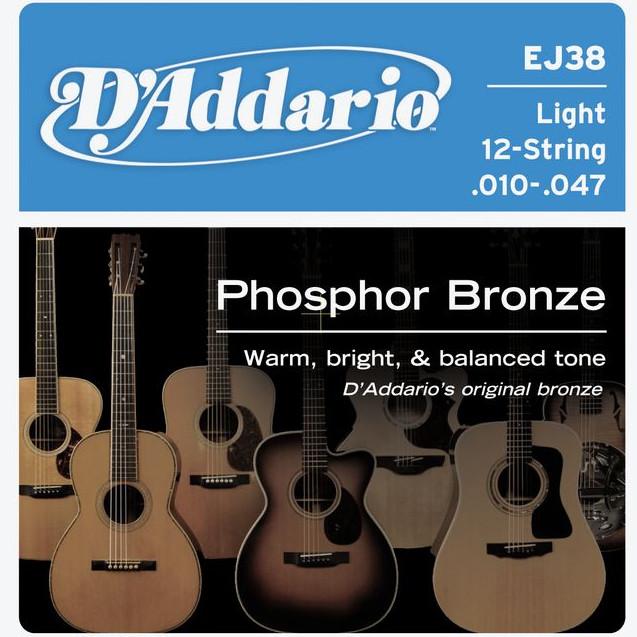 D'ADDARIO EJ38 Phosphor Bronze 12 Light - .010 - .047