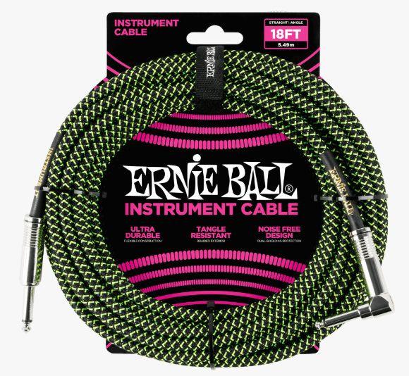 ERNIE BALL P06082 Braided Cable 18 SA Black Green