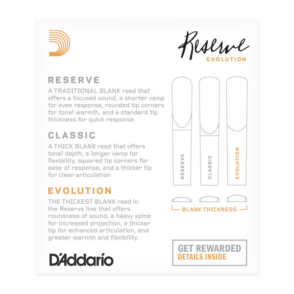 RICO DCE1025 Reserve Evolution - Bb Clarinet Reeds 2.5 - 10 Box