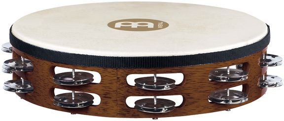 E-shop Meinl TAH2B-AB Traditional Goat-Skin Wood Tambourine Brass Jingles - African Brown