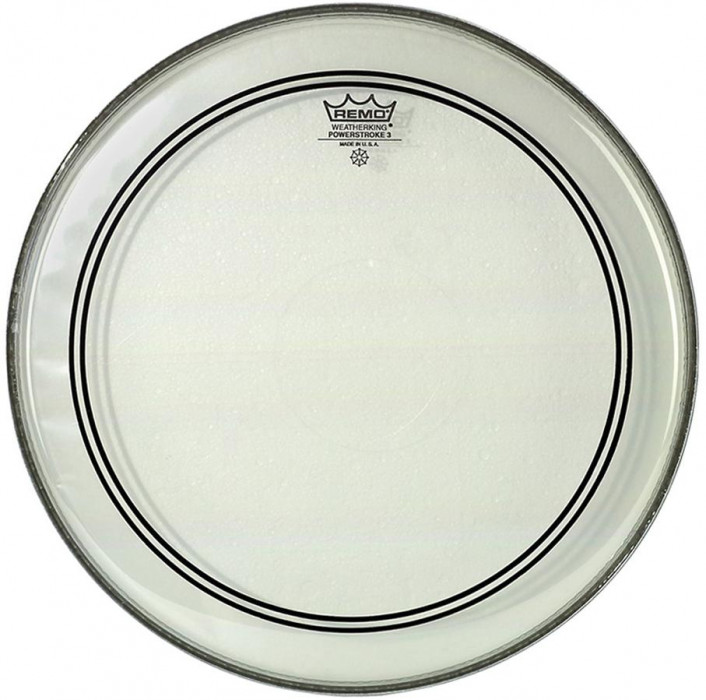 """REMO Powerstroke 3 Bass Clear 22"""" - Clear Dot"""