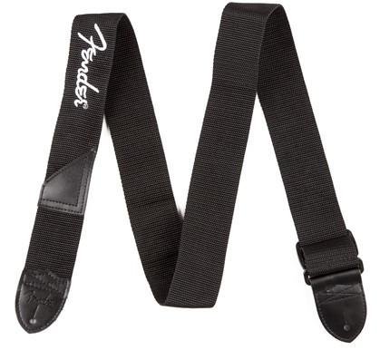 FENDER Poly Logo Strap White Logo Black