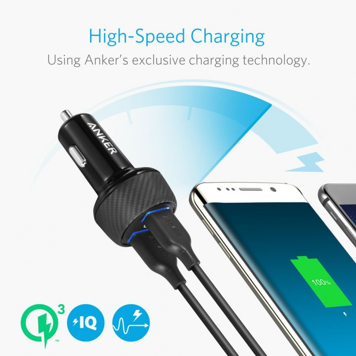 ANKER PowerDrive Speed se dvěma Quick Charge 3.0 porty