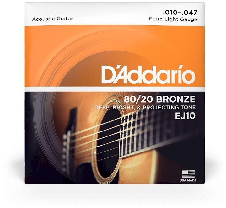 D'ADDARIO EJ10 80/20 Bronze Extra Light - .010 - .047