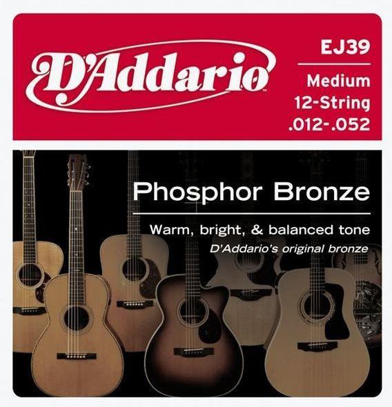 D'ADDARIO EJ39 Phosphor Bronze 12 Light - .012 - .052