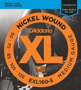 D'ADDARIO EXL160-5 Medium - .050 - .135