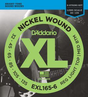 D'ADDARIO EXL165-6 Regular Light Top/Medium Bottom - .032 - .135