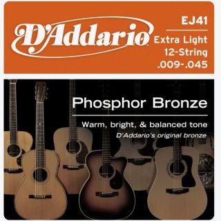 D'ADDARIO EJ41 Phosphor Bronze 12 Extra Light - .009 - .045