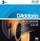 D'ADDARIO EJ11-3D Bronze Light 12-53