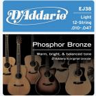 D'ADDARIO EJ38 Phosphor Bronze 12 Light - .010 - .047