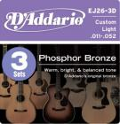 D'ADDARIO EJ26-3D Phosphor Bronze Custom Light - .011 - .052 - 3ks