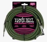 ERNIE BALL P06077 Braided Cable 10 SA Black Green
