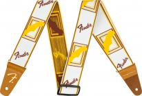 FENDER Weighless Monogrammed Strap White / Brown / Yellow