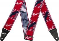 FENDER Weighless Monogrammed Strap Red / White / Blue