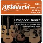 D'ADDARIO EJ41 Phosphor Bronze 12 Extra Light - .009 - .045