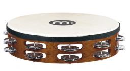 MEINL TAH2AB Traditional Goat-Skin Wood Tambourine 2 Rows Steel - African Brown