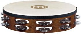 MEINL TAH2B-AB Traditional Goat-Skin Wood Tambourine Brass Jingles - African Brown