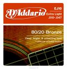 D'ADDARIO EJ10 80/20 Bronze Extra Light - .010 - .047