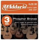 D'ADDARIO EJ15-3D Phosphor Bronze Extra Light - .010 - .047